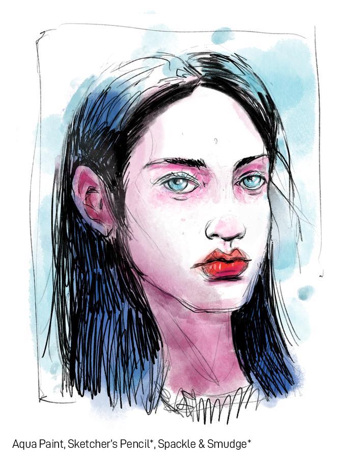 SketchBox Art Brushes for Procreate Portrait Watercolor Brush Example
