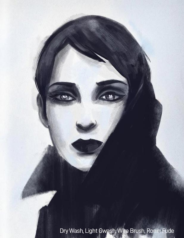 Samurai Ink Brushes for Procreate Bianca Brushes Example Portrait
