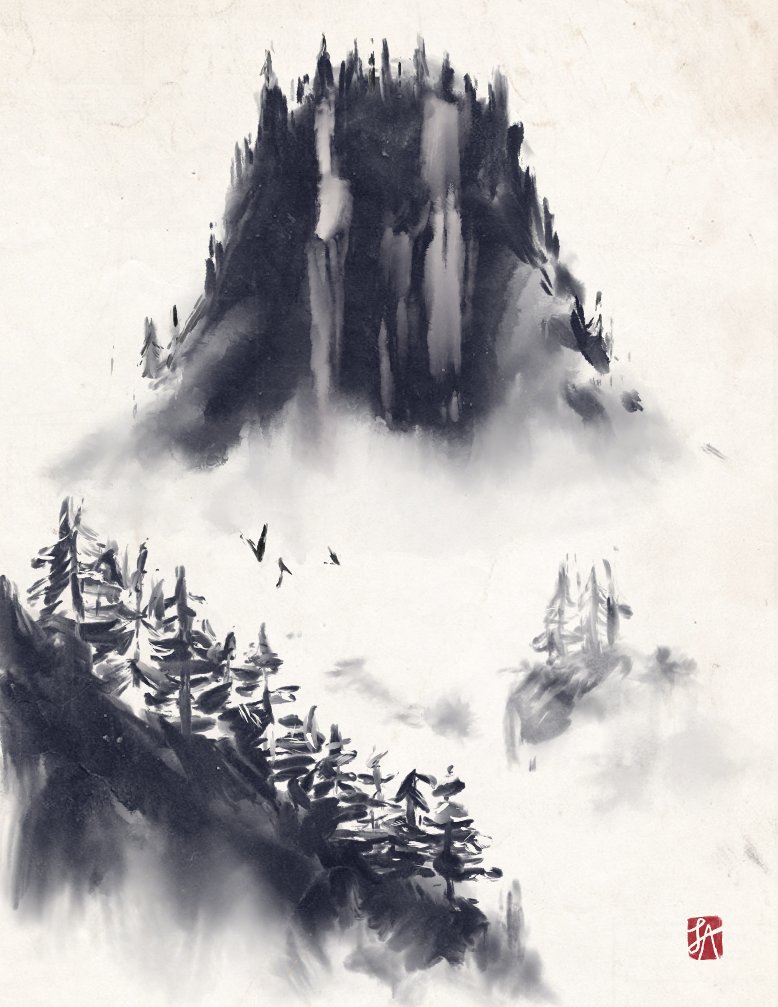Procreate Samurai Inks Brush Pack Sumi e Mountain