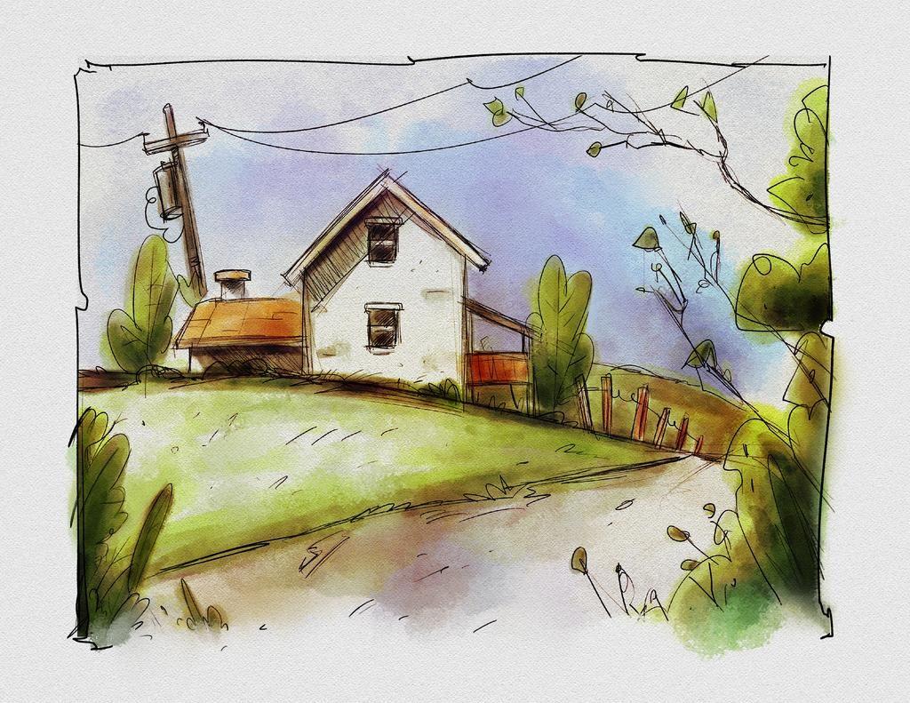 Little House Watercolor SketchBox Procreate Free Brush Pack Sample