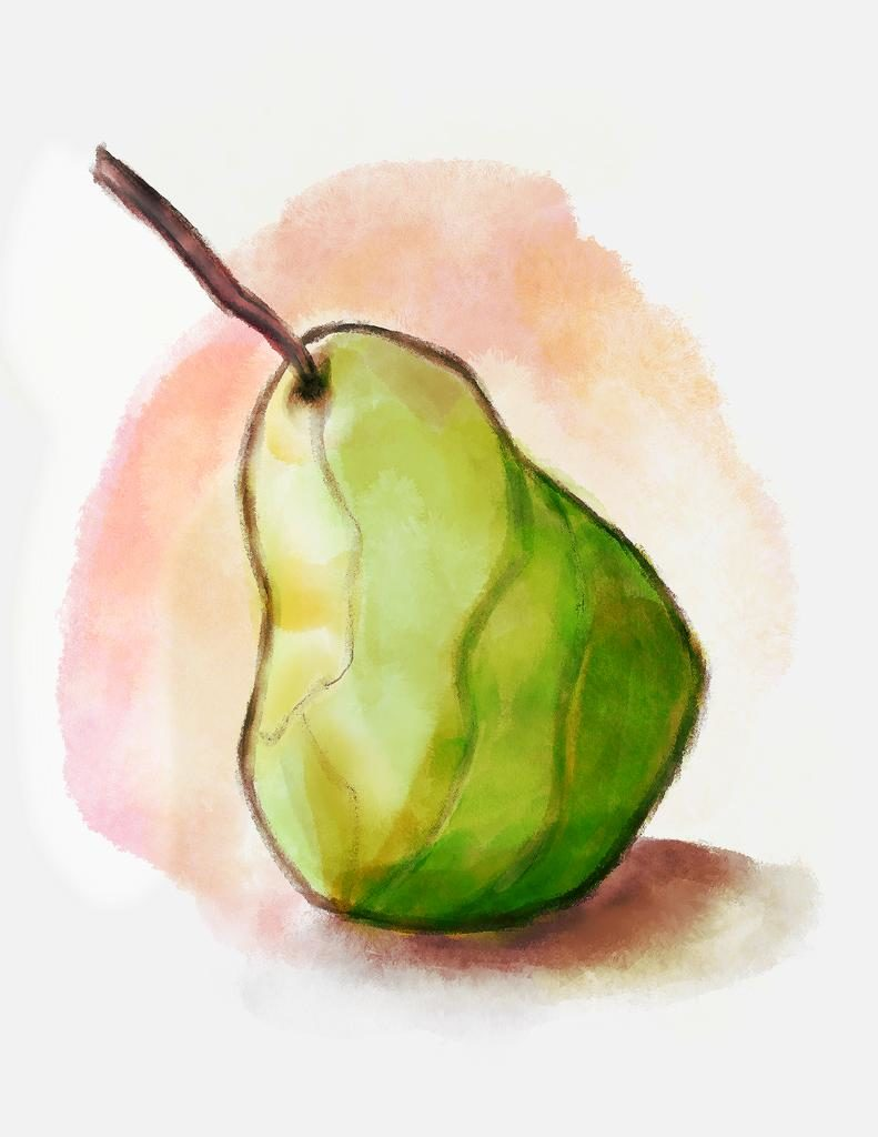 Pear Still Life Watercolor SketchBox Procreate Free Brush Pack Sample