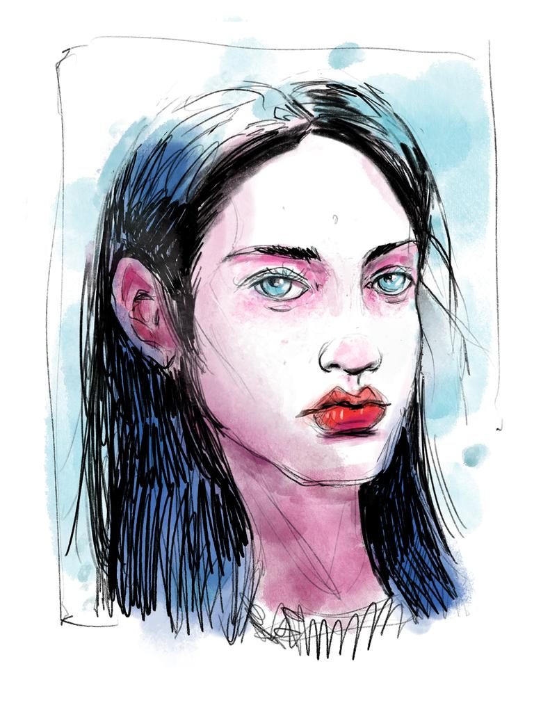 Portrait Watercolor SketchBox Procreate Free Brush Pack Sample