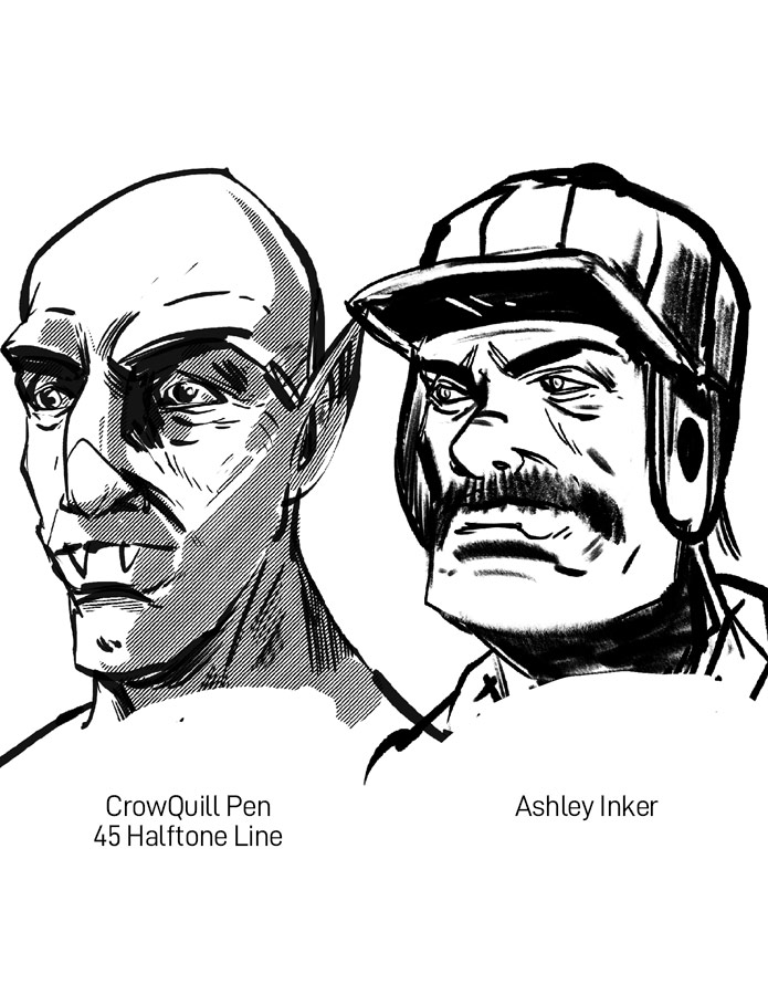 Vintage Comic Book Ink Brushes for Procreate Ashely Inker and CrowQuill Pen Sample