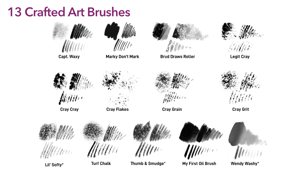 Procreate Cray Cray Crayon Brush Pack Stroke Samples