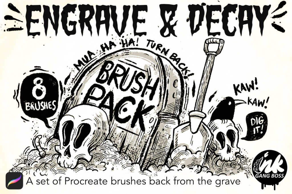 Engrave and Decay Brushes for Procreate : Procreate Brushes & Tools