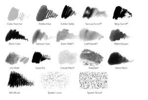 Sample Brush Strokes Samurai Inks for Procreate